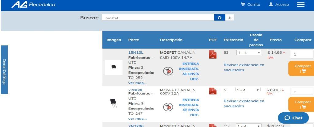 Artículos que ofrece AG electrónica tienda virtual