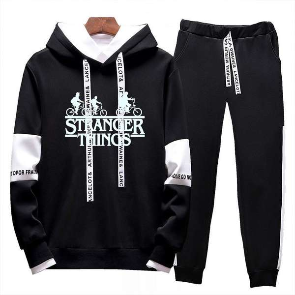 2Pcs Set Hoodie and Pants Stranger Things Sport Tracksuit Outdoor MenWomen Jogging Suit