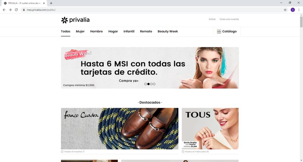 Hacer las compras en LINEA [tienda online en MEXICO] privalia